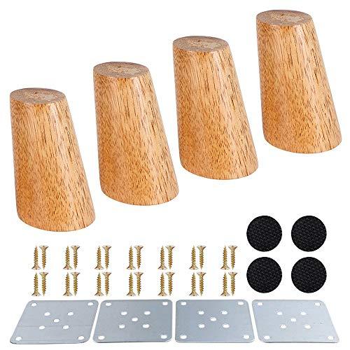 4 Stück Möbelfüße, Holz Möbelbeine, Massivholz Konisch Beine Aus Eiche für Stühle Schrank Sofa Bett Couch, mit Schrauben und Filzgleiter (Schräger Fuß 8cm)