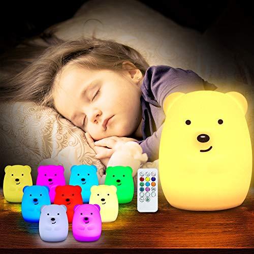TOPERSUN Luz de Noche Bebé Lámpara Multicolor Remoto Recargable Luz Nocturna Luz de 9 Colores Multicolor Remoto Recargable