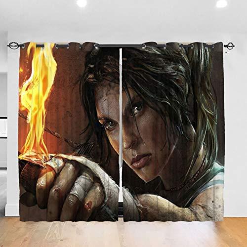 RVEVHGAHHA Lara Croft Tomb Raider - Cortina opaca con aislamiento térmico, insonorizada, decorativa para sala de estar, habitación de los niños, 2 paneles de 52 x 72 pulgadas