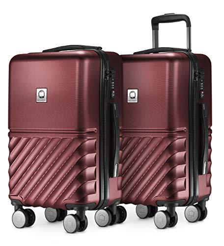 HAUPTSTADTKOFFER - Boxi - 2er Handgepäck Kofferset Bordgepäck Cabin Size Koffer 55cm, ABS-Hartschale TSA, 4 Spinner-Doppelrollen, Burgund