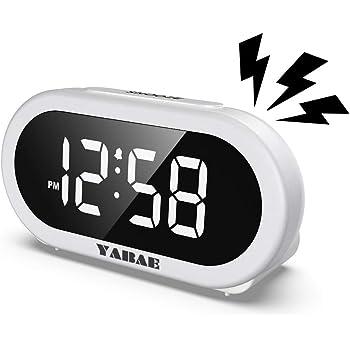 YABAE 目覚まし時計 置き時計 大音量 LED デジタル アラーム クロック スヌーズ機能 明るさ調整 おしゃれ コンセント式 ホワイト AL-01
