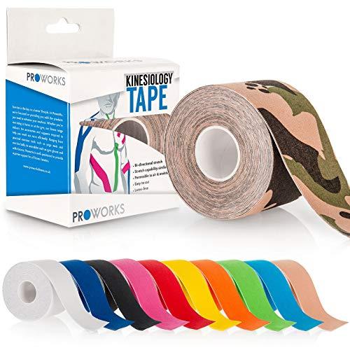 Proworks Kinesiologie Tape [5cm x 5m Rollenlänge] Tape für Muskeln und Gelenke [Wasserfest] für Training, Physiotherapie und Schmerztherapie Camo