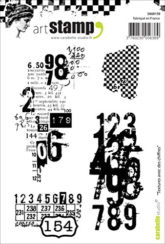 Carabelle Studio A6 Cling Stempel - Textures with Numbers, Rubber, White transparent, 10 x 14 x 0.5 cm