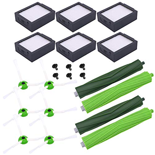 Neutop Replacement Parts for iRobot Roomba e and i Series E5(5150) E6(6198) i3(3150) i3+(3550) i4(4150) i4+ i6 i6+(6550) i7(7150) i7+(7550) i8 i8+ Plus Robot Vacuum Accessories Replenishment Kit with 2 sets Dual Multi-Surface Rubber Roller Brushes 6 Filters 6 Edge Sweeping Brushes
