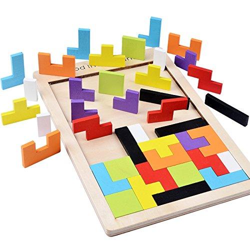 B&Julian ® Holzpuzzle Tangram Kinder Tetris Holz Puzzle Steckspiel Legespiel Brettspiel geometrisch Formen in Box Knobelspiele (1er Pack)