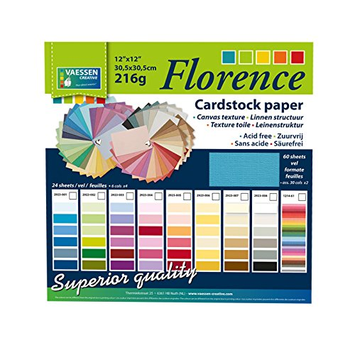 Vaessen Creative Florence Scrapbook-Papier Cardstock 30,5x30,5cm x60 Blatt, Leinwand-Struktur, Paper, multicoulor, 30.5 x 30.5 x 1 cm