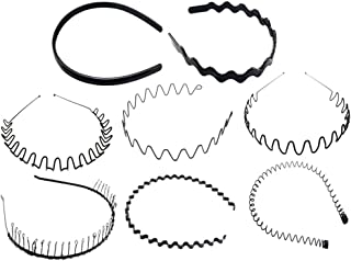 Minkissy 8pcs Black Metal Headband Wavy Hair Hoops Non Slip Spiral Hair Band Headdress Hair Accessories Sport Hairband for...