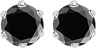 1/2-10 Carat Total Weight Black Diamond Stud Earrings 6 Prong Push Back