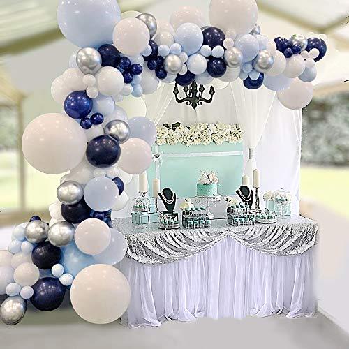 Arche Ballon Bleu Blanc Argent Kit Guirlande de Ballons Pastel SKYIOL 94 Helium Latex Ballons Set avec 5m Chaine Point de Colle pour Enfant Garcon Anniversaire Baby Shower Mariage Bapteme Déco Fête