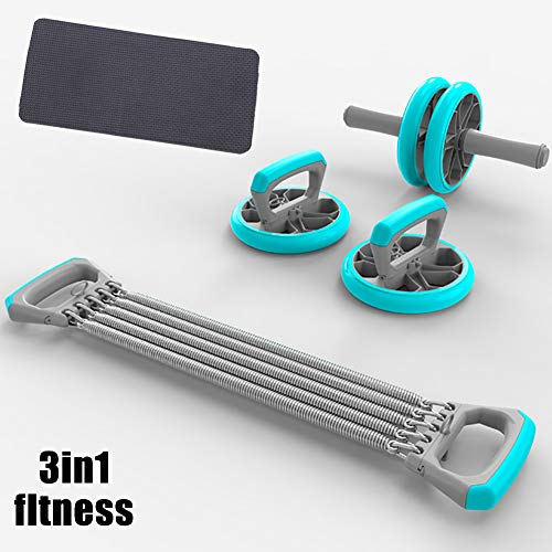 YiChengJT Bauchtrainer-Roller, Bauchmuskel-Training, multifunktional, Körper-Fitness, Bauchtrainer + 1 Rallye + 1 Knieschoner + 2 Liegestütz-Ständer, blau