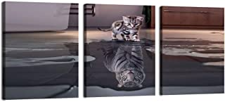 "Motivational Wall Art 3 Panels Cute Animal Poster Painting Cat Canvas Picture Wall Art Tiger Poster Pictures Inspiring Artwork Big Dream Mindset Entrepreneur Framed Office Decor -16""Wx24""H/Piece"
