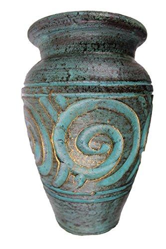 Rotfuchs® Tonvase Blumenvase aus Ton 20 cm hoch Handarbeit Dekoration (20 cm, Türkisgrün)