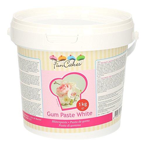 FunCakes Pasta de Goma Blanca de FunCakes: Perfecta para Flores de Azúcar, Hojas Finas, Ruffles y más, Halal, Kosher y Libre de Gluten. 1000 gr
