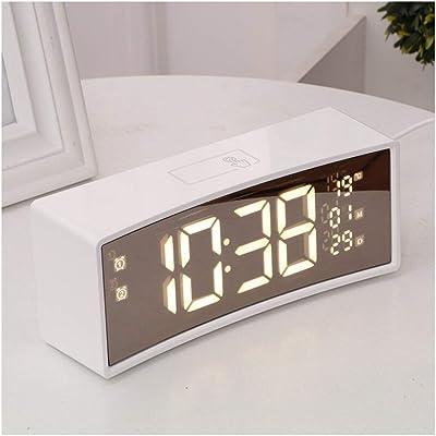 EGCLJ Reloj Despertador Pantalla Curva LED Reloj Electrónico Mesa ...