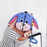 Ultra Thick Soft Silicone Eeyore Case with Finger Strap for Apple Airpods 1 2 Wireless Earbuds Blue Donkey Winnie The Pooh Walt Disney Disneyland Cartoon 3D Cute Lovely Hot Kids Girls Teens Daughter
