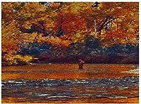 NEWJSCTWCLフィッシャーマンアウトドアランドスケープオイルパズル500ピース木製大人用ジグソーパズルカラー抽象絵画パズル子供向け教育玩具ギフト