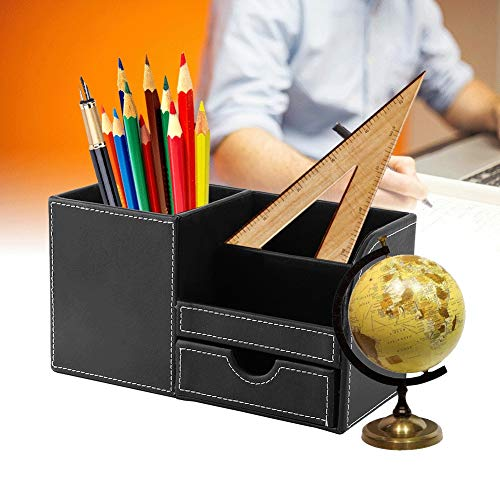 Pinsofy Organizador de papelería, Caja de Almacenamiento de Oficina, Superficie de Cuero, Estuche para bolígrafo Negro, de Madera para la Escuela