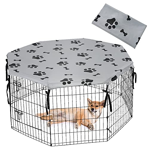 KOOLTAIL Dog Playpen Cover for Indoor & Outdoor - UV Resistant & Waterproof Pet Crate Cover for Pen, Privacy Kennel Cover Fits 24 Inches Pen with 8 Panels