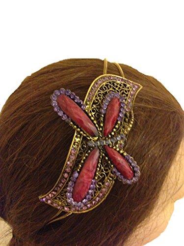 Pamper Yourself Now Burgund/lila Libelle-Design Haarband, Stirnband mit hübschen Steinen (Burgundy/purple Dragonfly design aliceband, headband with pretty stone)