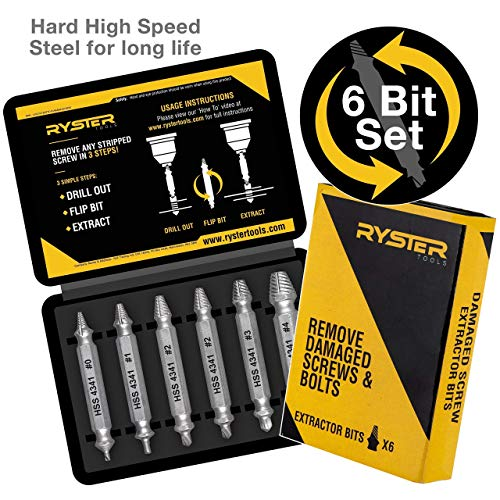 Damaged Screw Extractor - Remover for Stripped Head Screws, Nuts & Bolts | Set of 6 | Drill Bit Tools for Easy Removal of Broken & Rusty Hardware | High Quality Hardened High Speed Steel (HSS)
