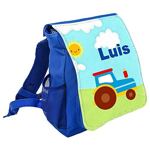 wolga-kreativ Kleiner Rucksack Kindergartentasche Mädchen Jungen Traktor Trekker Kinderrucksack Kindergartenrucksack Jungs Kinder mit Namen Tagesrucksack Kindergarten Kindertasche