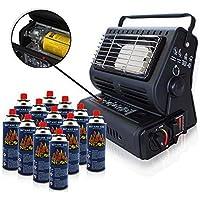 RSonic calefacción de gas cerámica radiador de gas calefacción para Tienda Outdoor caravana equipo de camping Cartuchos De Gas Butano para Parrilla Soplete de soldar Cocinilla de camping - Rsonic Calefacción De Gas, con 12 botellas