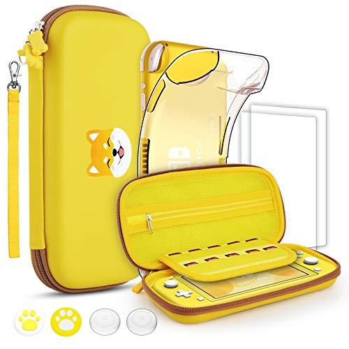 GeeRic Funda compatible para Switch Lite, Accesorio 8 piezas silicona funda y 2 pieces Protector de Pantalla compatible para switch lite,4 tapas de pulgar y agarre de almacenamiento,amarillo