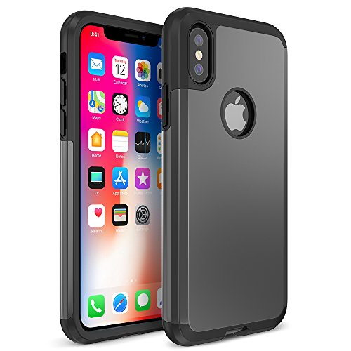 TETHYS TRIANIUM PROTANIUM SERIES Case for iPhone X / Apple iPhone 10 5.8-Inch Screen Phone (ONLY) - Retail Packaging - Gunmetal Gray
