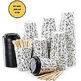 80 Vasos Desechables de Café Para Llevar - Vasos Carton 360 ml 12 Onzas con...