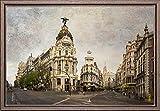 TEXFOTO Cuadro Enmarcado - Calle Gran Vía de Madrid, Calle Alcalá y Edificio Metrópolis de Madrid- Fotografía artística y Moderna Listo para Colgar - Hecho a Mano en España (40_x_60_cm)