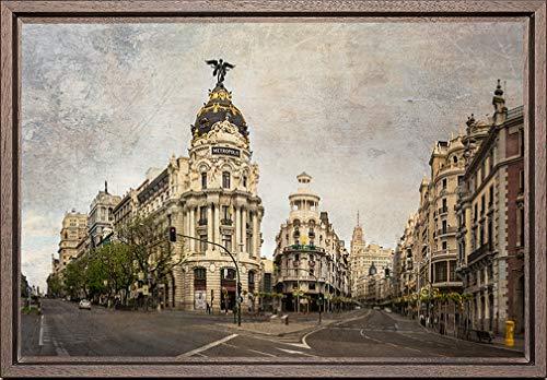TEXFOTO Cuadro Enmarcado - Calle Gran Vía de Madrid, Calle Alcalá y Edificio Metrópolis de Madrid- Fotografía artística y Moderna Listo para Colgar - Hecho a Mano en España (20_x_30_cm)