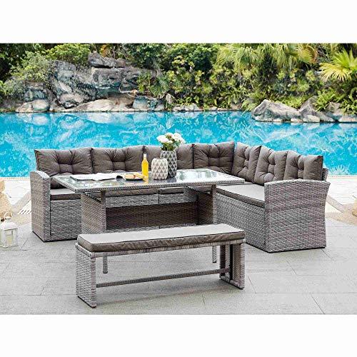 DecoInParis KAOUAI - Conjunto de sofá esquinero de resina trenzada para 8 personas