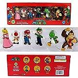 lkw-love 6 Piezas/Set 3-7cm Super Mario Bros PVC Figura de acción muñecas de Juguete Mario Luigi Yoshi Mushroom Donkey Kong En Caja de Regalo Bonito Regalo para niños A.-B.