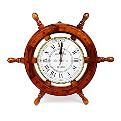 18 Solid Wood Brass Ship Wheel Wall Clock Porthole Nautical Decor Shipwheel 18 Ship Wheel Clock: Boat DecorationWooden Nautical Shipwheel with Clock -