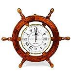 18' Solid Wood Brass Ship Wheel Wall Clock Porthole Nautical Decor Shipwheel 18' Ship Wheel Clock: Boat DecorationWooden Nautical Shipwheel with Clock -