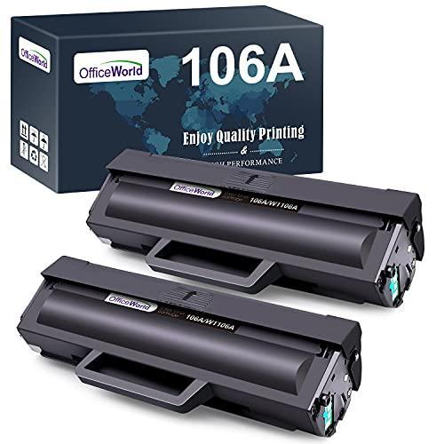 OfficeWorld 106A Toner Patronen Kompatible für HP 106A W1106A Tonerkartuschen für HP Laser 107w 107a 107r HP Laser MFP 135wg 137fwg 137fnw 135ag 135a 135r 135w (2 Schwarz, mit Chip)