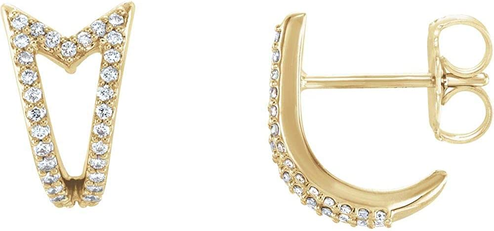 1 6 Cttw 2021new Award shipping free Diamond Geometric Huggie Earrings Facet Triangle J-Hoop
