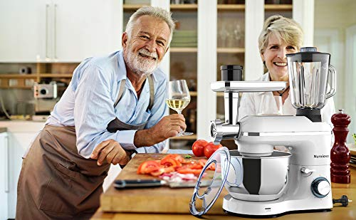 Nurxiovo 850W 7QT Food Mixer, Kitchen Stand Mixer with Tilt-Head 6 Speed, 3 in 1 Standing Mixers with Dough Hook,Whisk,Beater,Meat Blender and Juice Extracter,Silver