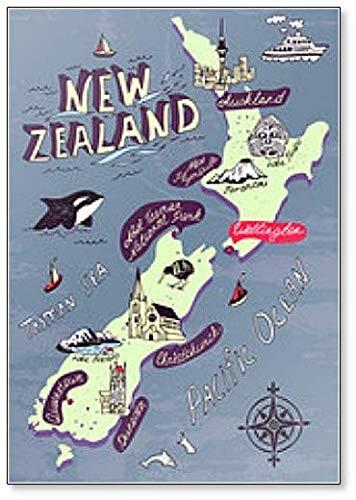 Illustrated Map Nieuw-Zeeland Koelkast Magneet