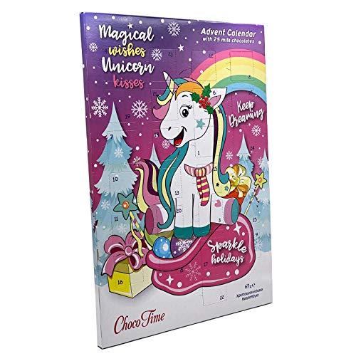 Einhorn Adventskalender Milchschokolade Magic Unicorn 2020 mit 25 Schokotäfelchen (65g)