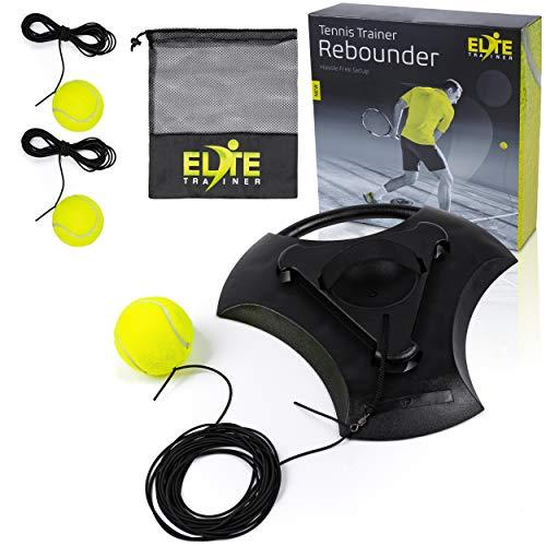 Elite Trainer Tennis Rebound Ball Set | Heavy Duty Power Base No Filling Required | Three Tennis Balls Long Elastic Rope and Custom Mesh Bag | Premium Solo Training Equipment for Any Skill Level