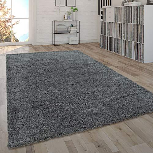 Paco Home Shaggy Teppich Hochflor Flauschig Wohnzimmer Uni In Versch. Farben & Größen, Grösse:80x150 cm, Farbe:Grau