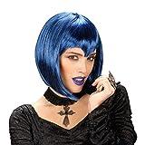NET TOYS Parrucca da Vampira Blu Gotica Halloween Carnevale Capelli Lisci Azzurri Strega Maga Taglio caschetto scalato