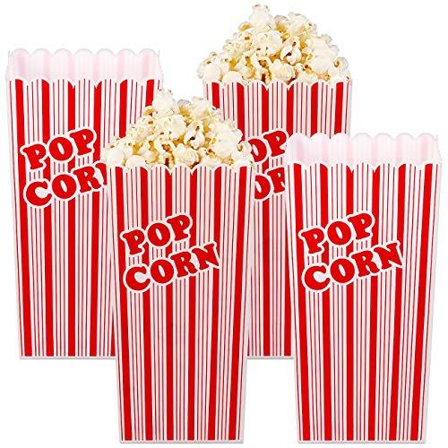 infactory Popcorn Becher: 4er-Set Wiederverwendbare Popcorn-Boxen, 2 Liter, rot-weiß gestreift (Popcorn Becher Kunststoff)