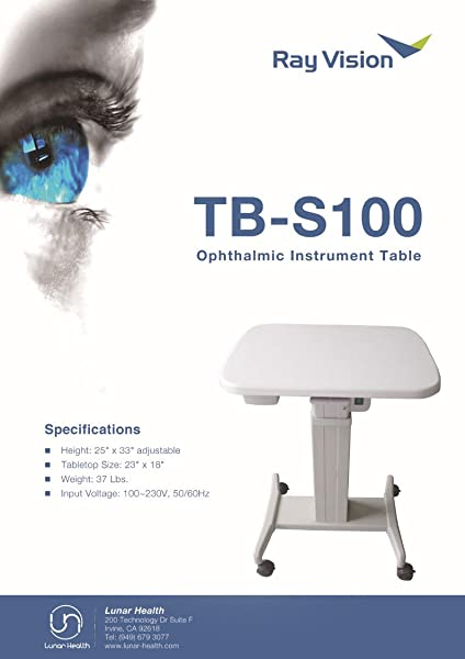 Optical Motorized Power Table Ophthalmic Adjustable Instrument Table 23 X 18 Model TB S100