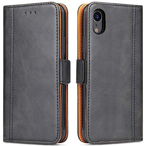 Bozon iPhone XR Hülle, Leder Tasche Handyhülle für iPhone XR Schutzhülle Flip Wallet mit Ständer & Kartenfächer/Magnetverschluss (Schwarz)