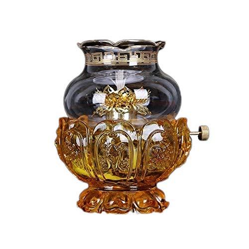 KMYX Cristal En Verre Lotus Lumière Lampe À Huile Bouddha Lumière Pour Lumière beurre Titulaire de la Lampe Accueil Bouddha Avant Lumière Lampe Bouddha Lumière Bouddha Lumière Bougeoir