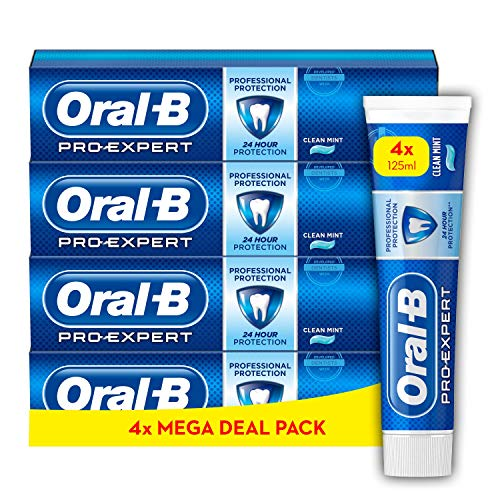 Oral-B Pro-Expert Professional Protection Toothpaste, Pack of 4 Tubes of 125 ml, Shipped In Eco-Friendly Recycled Carton