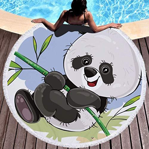 GermYan Círculo de Verano Microfibra Gruesa Toalla de Playa Redonda Ducha Toallas de baño Dibujos Animados Panda Estampado Bohemio Lindo