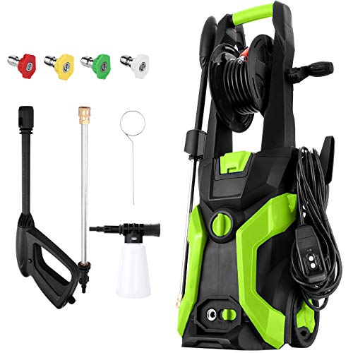 Electric Pressure Washer, TOPZONE Power Washer 3500 PSI 2.0GPM, 1800W High Pressure Cleaner Machine with 4 Interchangeable Nozzle, Hose Reel and Brush for Cars/Fences/Garden/Deck Cleaning (Green)